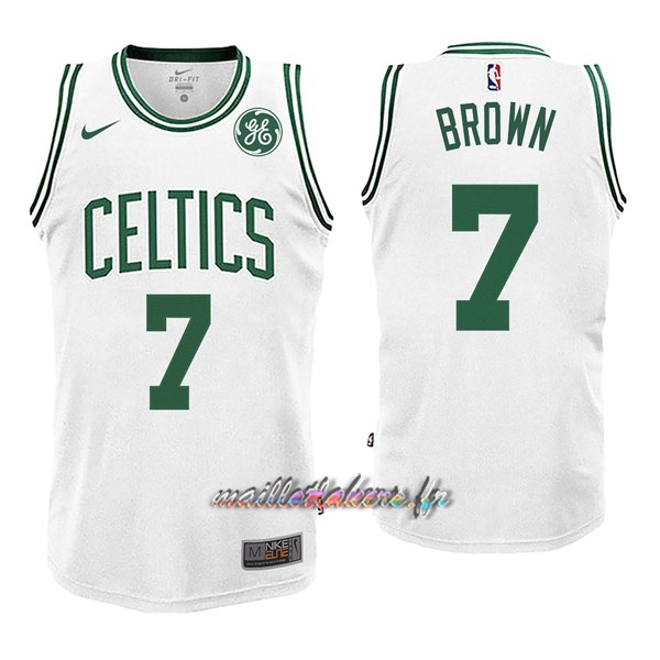 Maillot NBA Enfant Boston Celtics NO.7 Jaylen Brown Blnaco Pas Cher