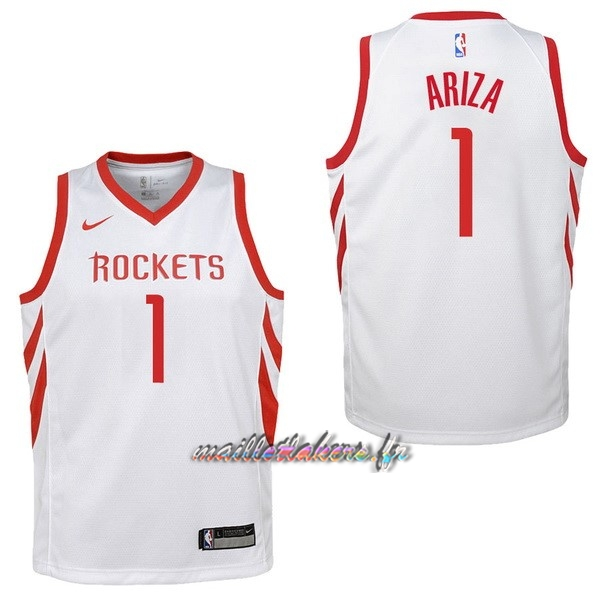 Maillot NBA Enfant Houston Rockets NO.1 Trevor Ariza Blanc Association Pas Cher