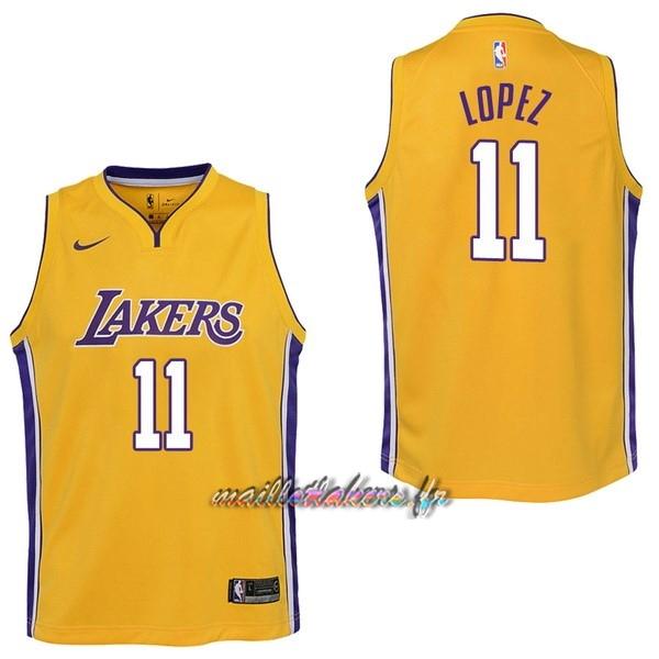 a2404b90dbcb0 Maillot NBA Enfant Los Angeles Lakers NO.11 Brook Lopez Jaune Icon Pas Cher