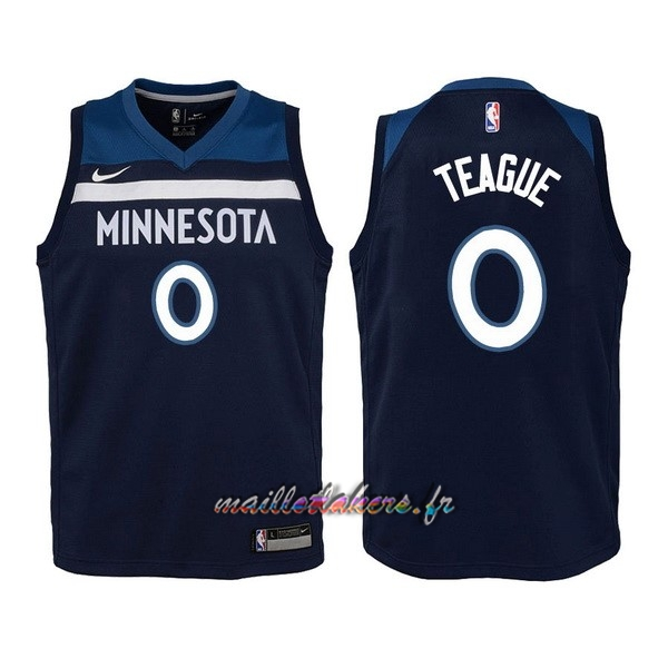 Maillot NBA Enfant Minnesota Timberwolves NO.0 Jeff Teague Marine Icon Pas Cher