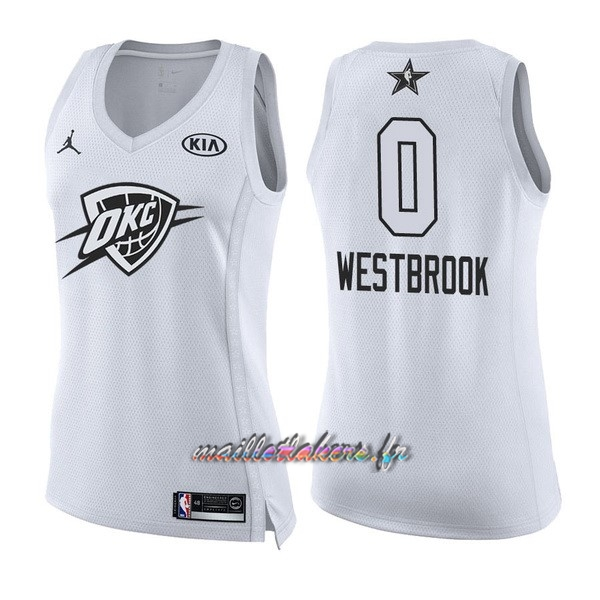 Maillot NBA Femme 2018 All Star NO.0 Russell Westbrook Blanc Pas Cher
