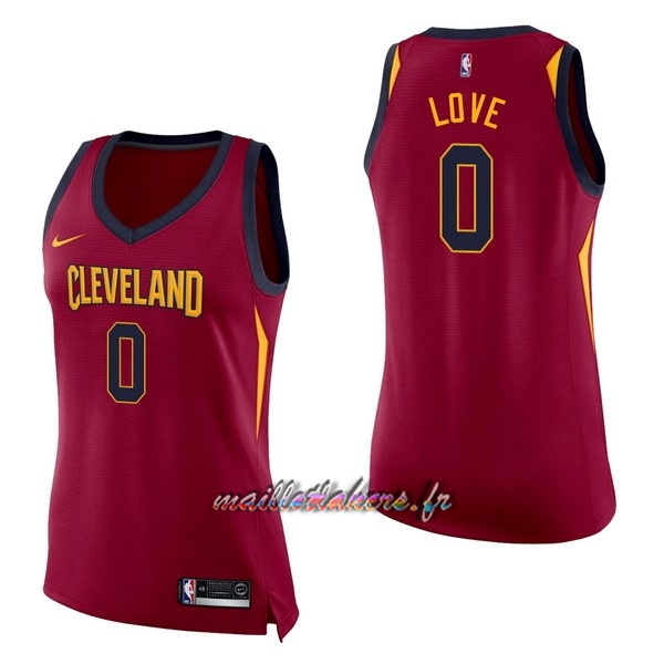 Maillot NBA Femme Cleveland Cavaliers NO.0 Kevin Love Rouge Icon Pas Cher