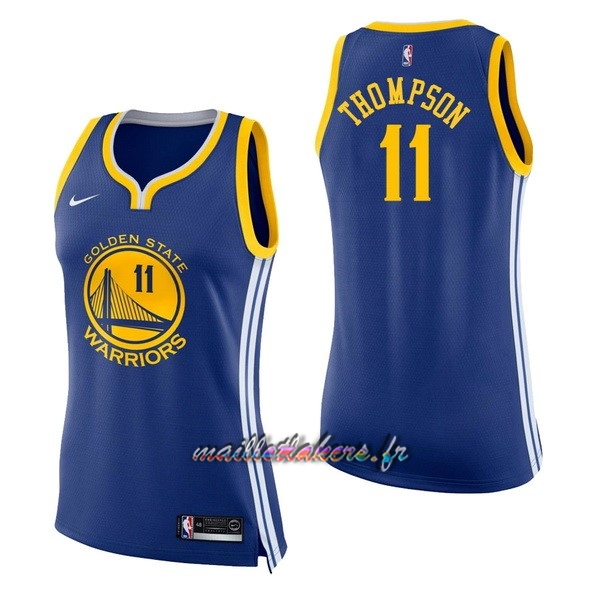 Maillot NBA Femme Golden State Warriors NO.11 Klay Thompson Bleu Icon Pas Cher