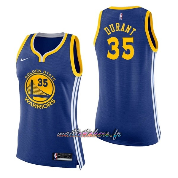 Maillot NBA Femme Golden State Warriors NO.35 Kevin Durant Bleu Icon Pas Cher