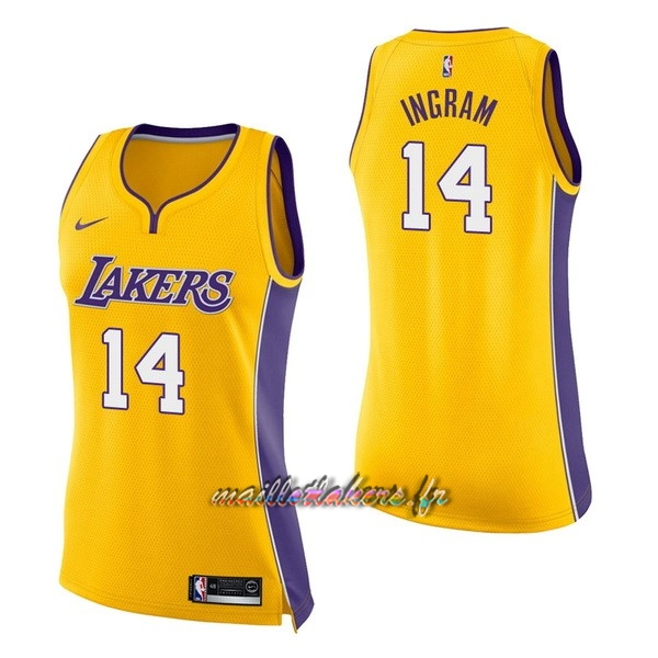 Maillot NBA Femme Los Angeles Lakers NO.14 Brandon Ingram Jaune Icon Pas Cher