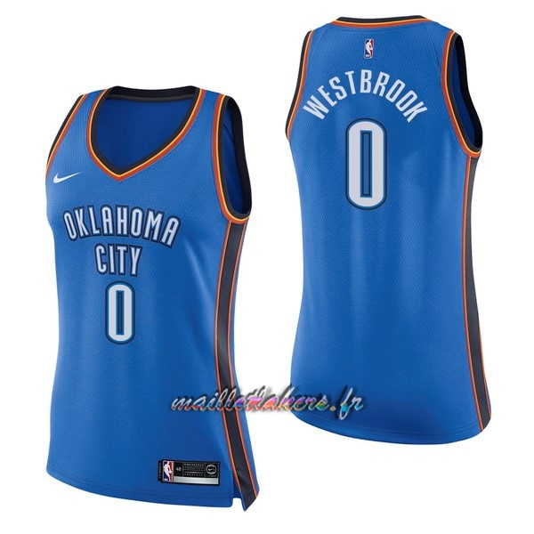 Maillot NBA Femme Oklahoma City Thunder NO.0 Russell Westbrook Bleu Icon Pas Cher