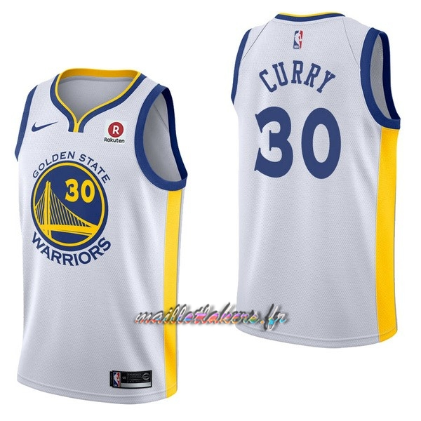 31958c6f709dc Maillot NBA Nike Golden State Warriors NO.30 Stephen Curry Blanc Pas Cher