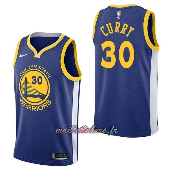 Maillot NBA Nike Golden State Warriors NO.30 Stephen Curry Bleu Icon Pas Cher
