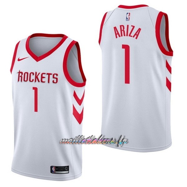 Maillot NBA Nike Houston Rockets NO.1 Trevor Ariza Blanc Association Pas Cher