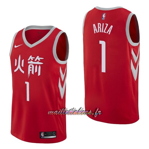 Maillot NBA Nike Houston Rockets NO.1 Trevor Ariza Nike Rouge Ville Pas Cher