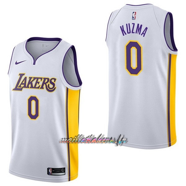 Maillot NBA Nike Los Angeles Lakers NO.0 Kyle Kuzma Blanc Association Pas Cher