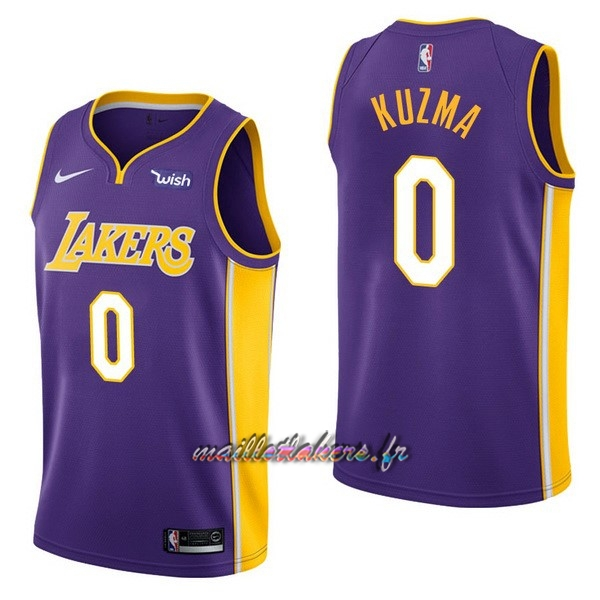 Maillot NBA Nike Los Angeles Lakers NO.0 Kyle Kuzma Pourpre Pas Cher