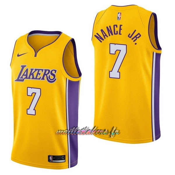 Maillot NBA Nike Los Angeles Lakers NO.7 Larry Nance Jr Jaune Icon Pas Cher