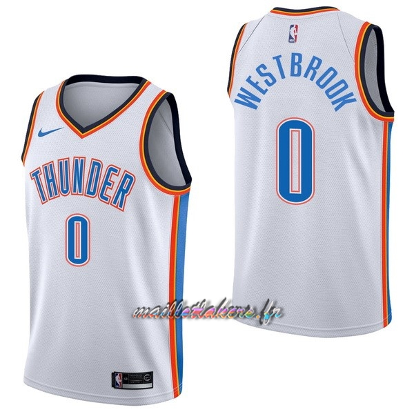 Maillot NBA Nike Oklahoma City Thunder NO.0 Russell Westbrook Blanc Association Pas Cher