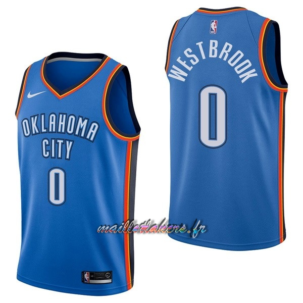 Maillot NBA Nike Oklahoma City Thunder NO.0 Russell Westbrook Bleu Icon Pas Cher