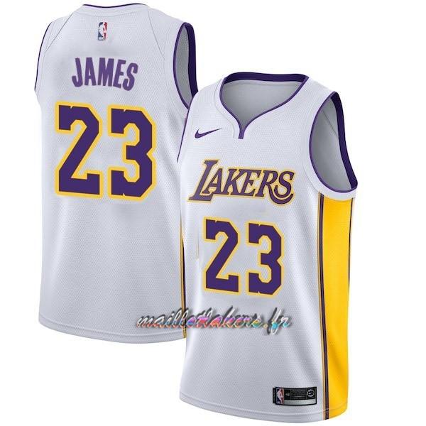 2f9c4423ee Maillot NBA Enfant Los Angeles Lakers NO.23 LeBron James Blanc Association Pas  Cher