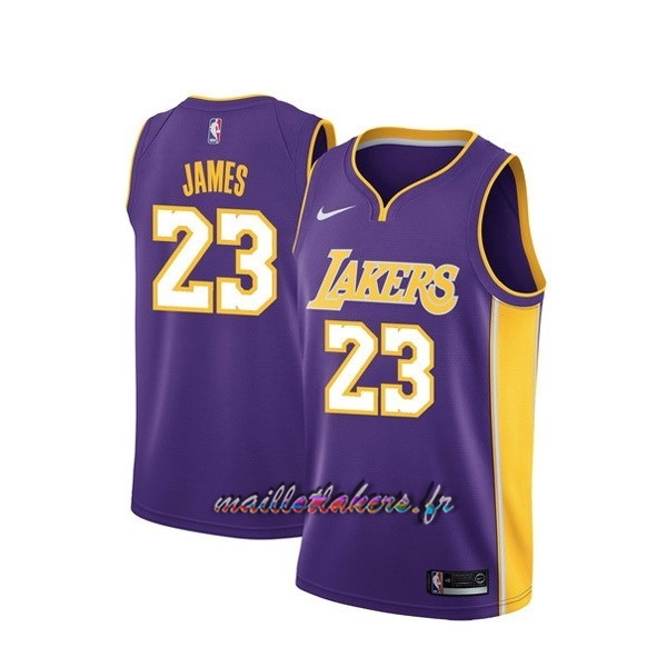 Maillot NBA Nike Los Angeles Lakers NO.23 Lebron James Purpura Statement Pas Cher