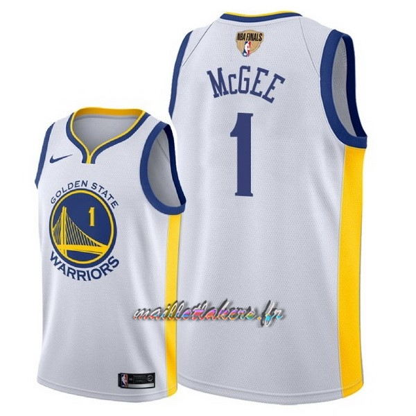 Maillot NBA Golden State Warriors 2018 Final Champions NO.1 JaVale McGee Blanc Pas Cher