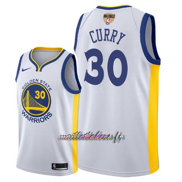 Maillot NBA Golden State Warriors 2018 Final Champions NO.30 Stephen Curry Blanc Pas Cher