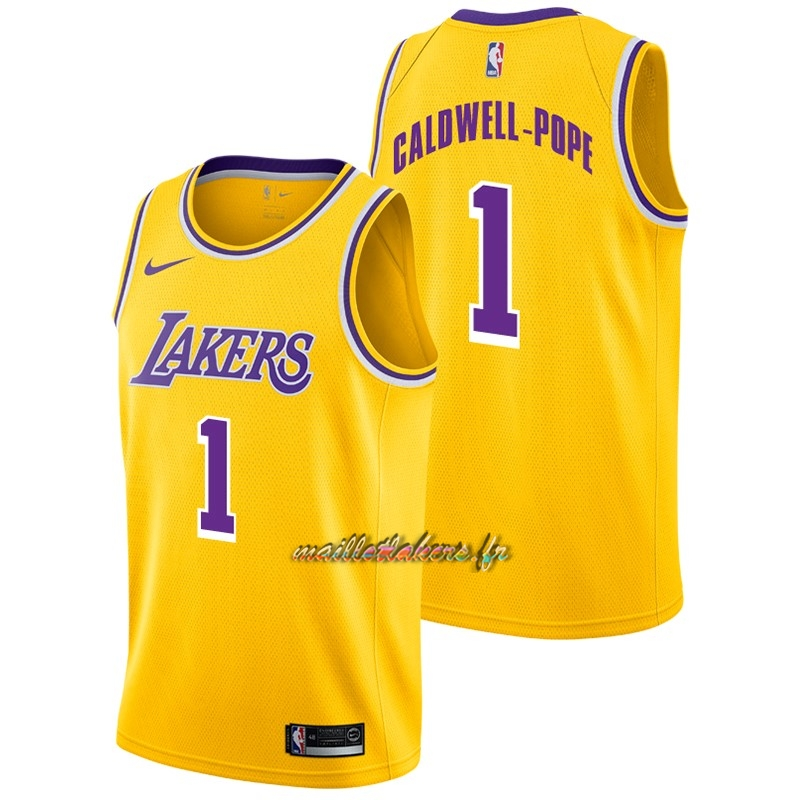 Maillot NBA Nike Los Angeles Lakers NO.1 Kentavious Caldwell Pope Jaune Icon 2018-19 Pas Cher