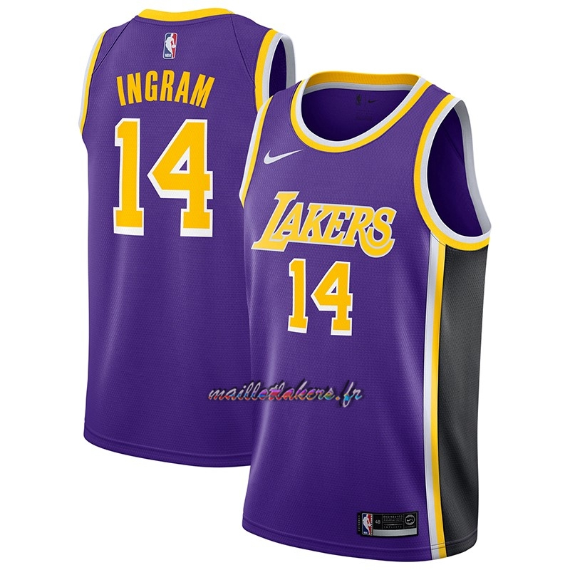 Maillot NBA Nike Los Angeles Lakers NO.14 Brandon Ingram Pourpre Statement 2018-19 Pas Cher