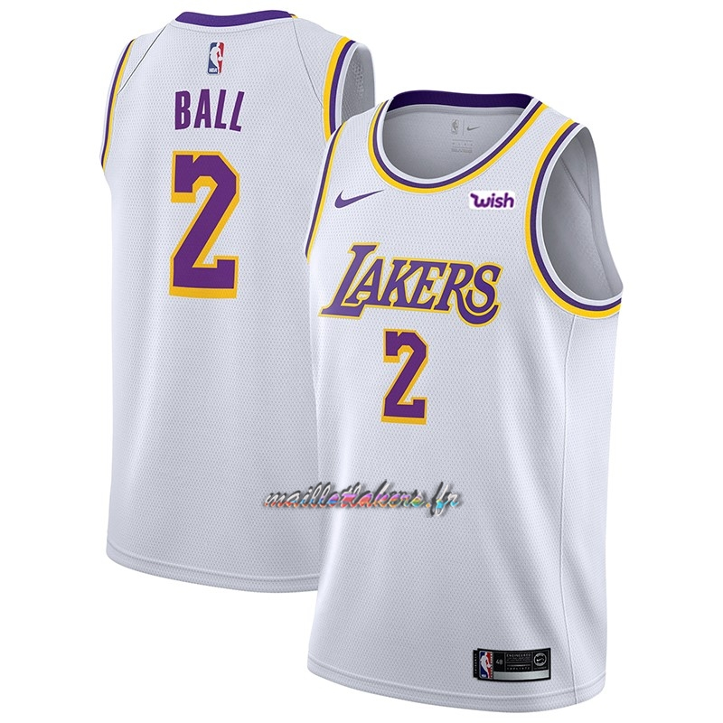 Maillot NBA Nike Los Angeles Lakers NO.2 Lonzo Ball Blanc 2018-19 Pas Cher