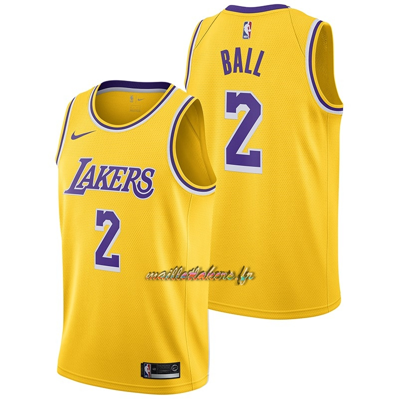 Maillot NBA Nike Los Angeles Lakers NO.2 Lonzo Ball Jaune Icon 2018-19 Pas Cher