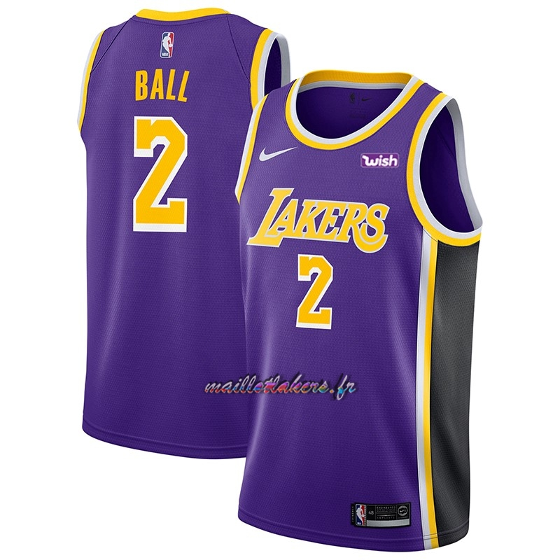 Maillot NBA Nike Los Angeles Lakers NO.2 Lonzo Ball Pourpre 2018-19 Pas Cher