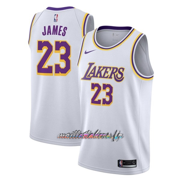 Maillot NBA Nike Los Angeles Lakers NO.23 Lebron James Blanc Association 2018-19 Pas Cher