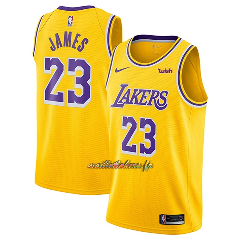 b8e0e66e5b6 Maillot NBA Nike Los Angeles Lakers NO.23 Lebron James Jaune 2018-19 Pas