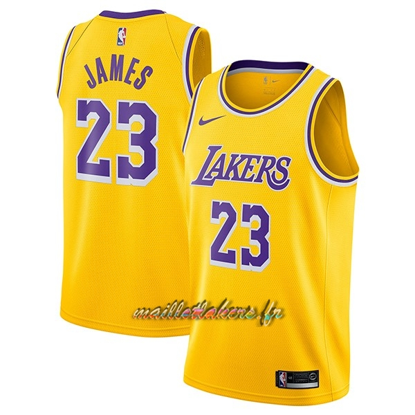 Maillot NBA Nike Los Angeles Lakers NO.23 Lebron James Jaune Icon 2018-19 Pas Cher