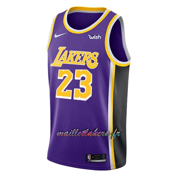 Maillot NBA Nike Los Angeles Lakers NO.23 Lebron James Pourpre 2018-19 Pas Cher