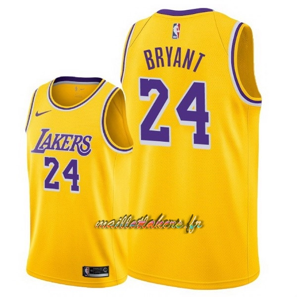 Maillot NBA Nike Los Angeles Lakers NO.24 Kobe Bryant Jaune Icon 2018-19 Pas Cher