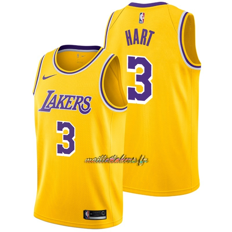 Maillot NBA Nike Los Angeles Lakers NO.3 Josh Hart Jaune Icon 2018-19 Pas Cher