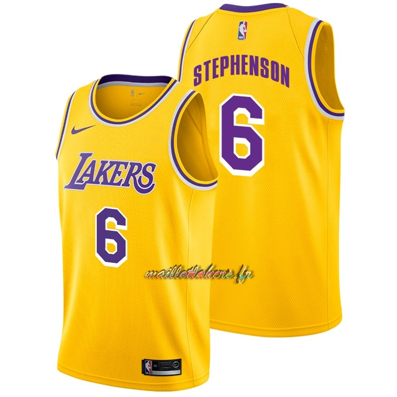 Maillot NBA Nike Los Angeles Lakers NO.6 Lance Stephenson Jaune Icon 2018-19 Pas Cher
