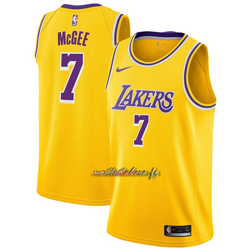 Maillot NBA Nike Los Angeles Lakers NO.7 JaVale McGee Jaune Icon 2018-19 Pas Cher
