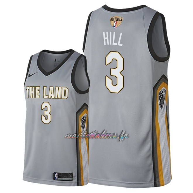 Maillot NBA Cleveland Cavaliers 2018 Final Champions NO.3 George Hill Nike Gris Ville Patch Pas Cher