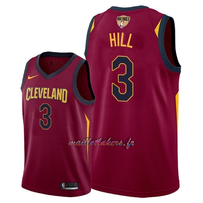 Maillot NBA Cleveland Cavaliers 2018 Final Champions NO.3 George Hill Rouge Icon Patch Pas Cher