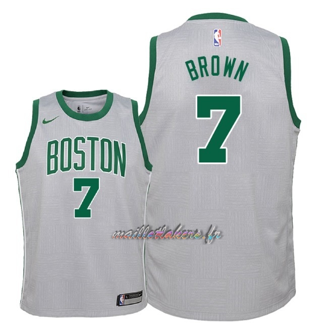 Maillot NBA Enfant Boston Celtics NO.7 Jaylen Brown Nike Gris Ville 2018 Pas Cher