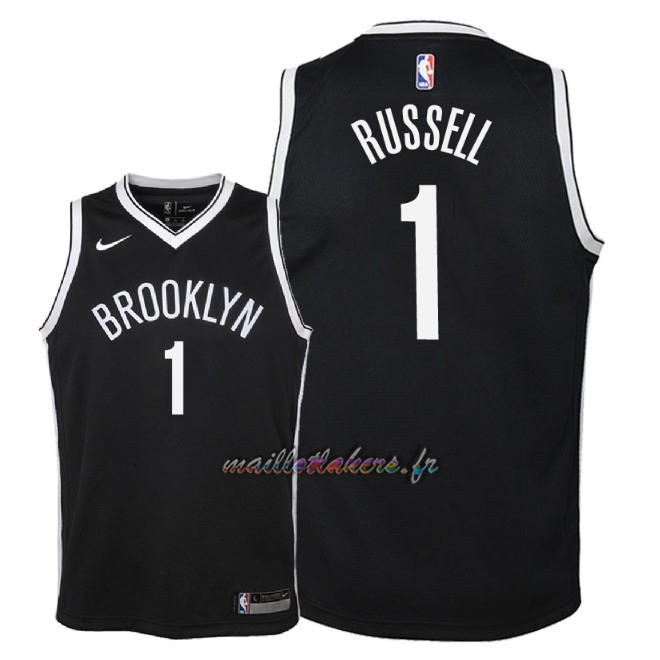 Maillot NBA Enfant Brooklyn Nets NO.1 D'Angelo Russell Noir Icon 2018 Pas Cher