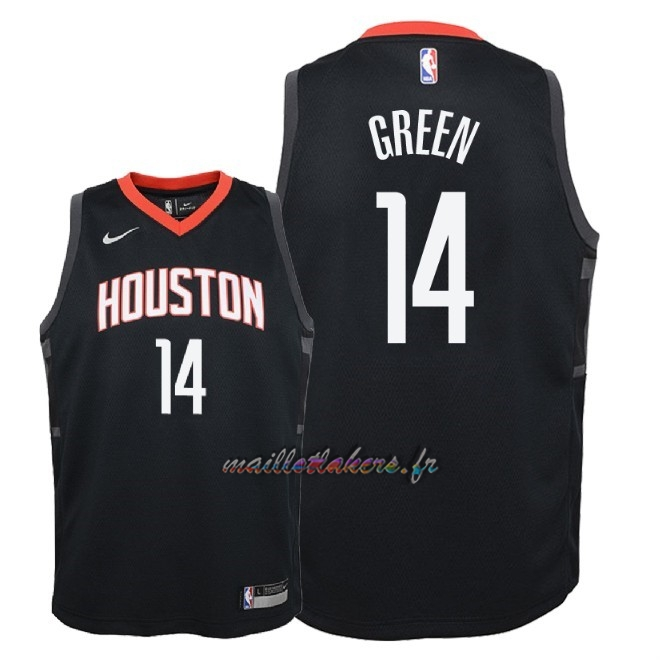 Maillot NBA Enfant Houston Rockets NO.14 Gerald Green Noir Statement 2018 Pas Cher