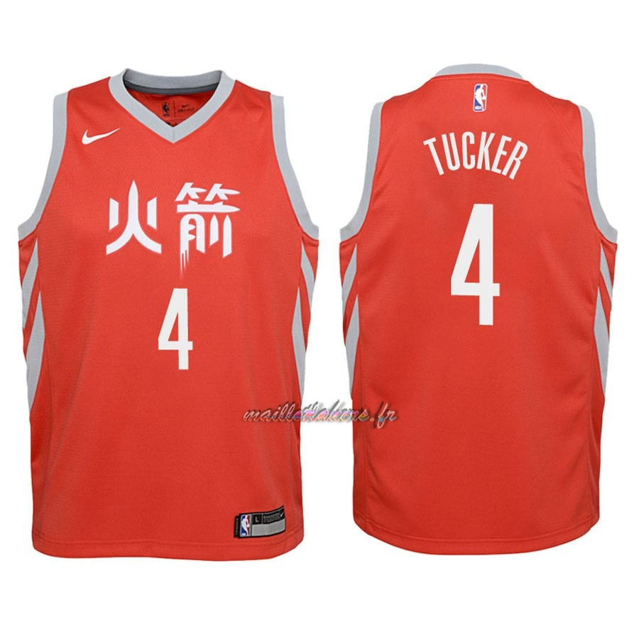 Maillot NBA Enfant Houston Rockets NO.4 P.J. Tucker Nike Rouge Ville 2018 Pas Cher
