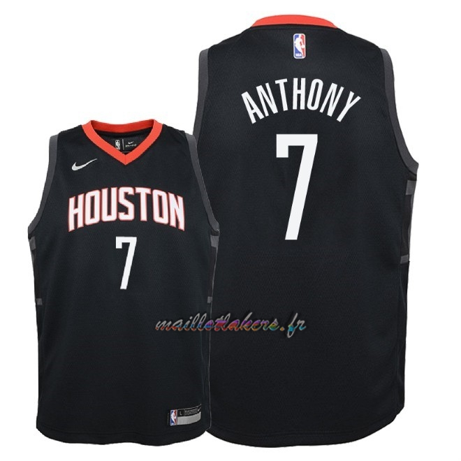 Maillot NBA Enfant Houston Rockets NO.7 Carmelo Anthony Noir Statement 2018 Pas Cher