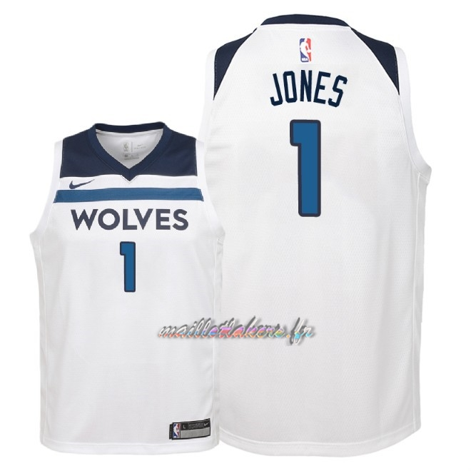 Maillot NBA Enfant Minnesota Timberwolves NO.1 Tyus Jones Blanc Association 2018 Pas Cher