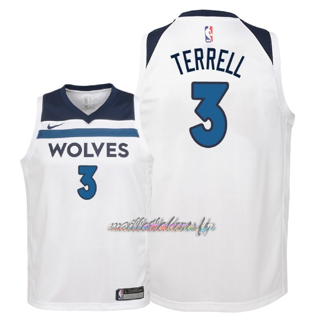 Maillot NBA Enfant Minnesota Timberwolves NO.3 Jared Terrell Blanc Association 2018 Pas Cher