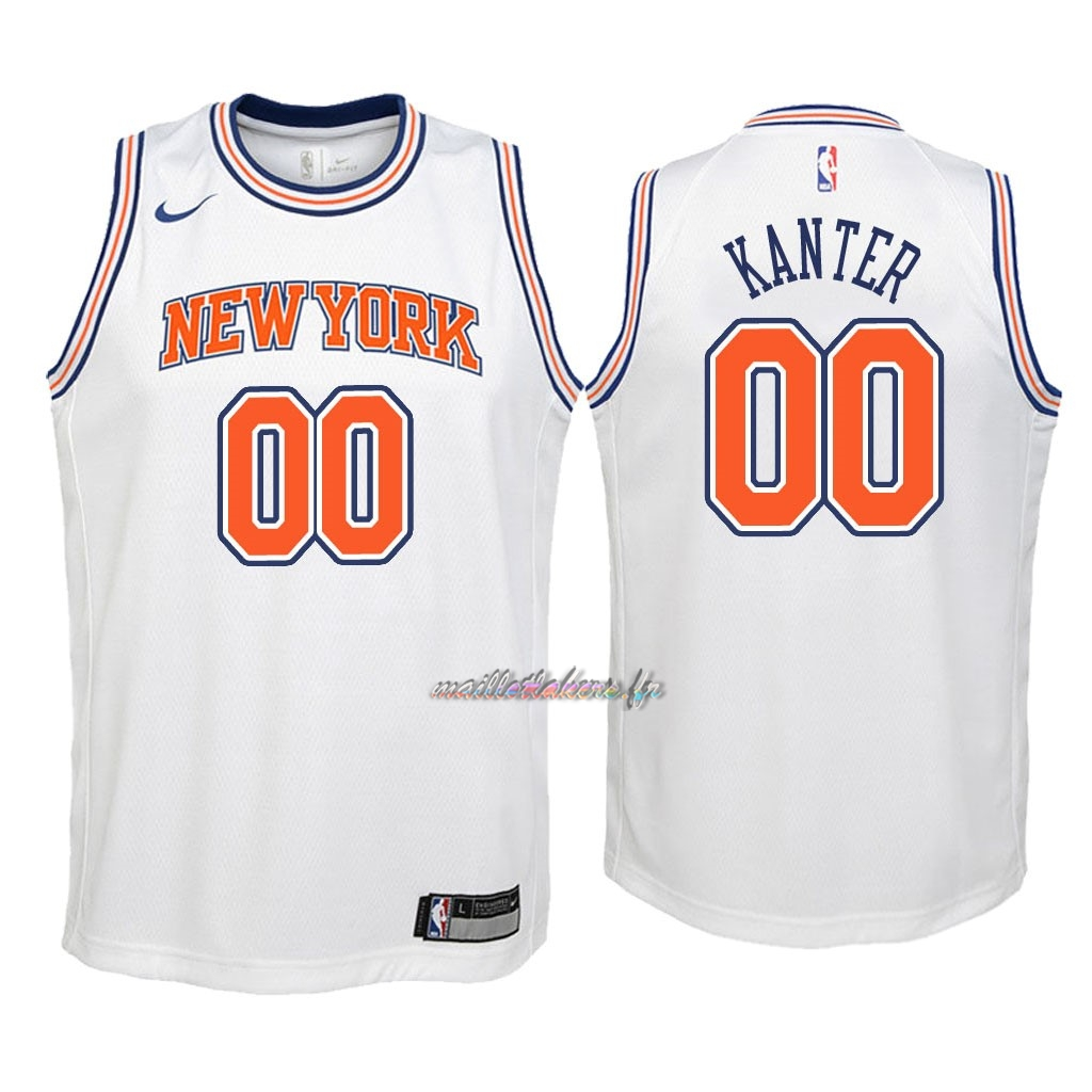 Maillot NBA Enfant New York Knicks NO.0 Enes Kanter Blanc Statement 2018 Pas Cher