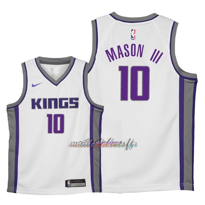 Maillot NBA Enfant Sacramento Kings NO.10 Frank Mason III Blanc Association 2018 Pas Cher