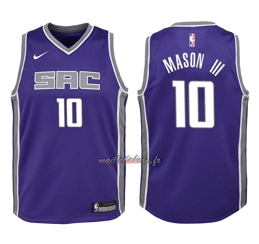 Maillot NBA Enfant Sacramento Kings NO.10 Frank Mason III Pourpre Icon 2018 Pas Cher