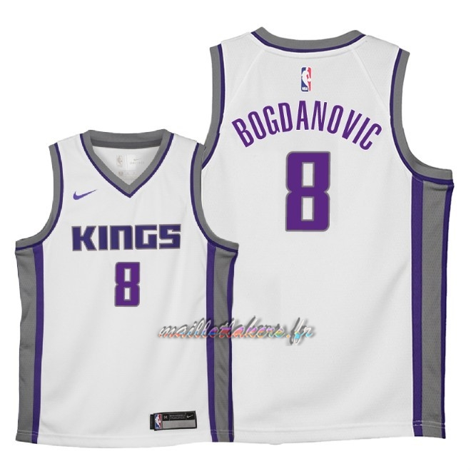 Maillot NBA Enfant Sacramento Kings NO.8 Bogdan Bogdanovic Blanc Association 2018 Pas Cher