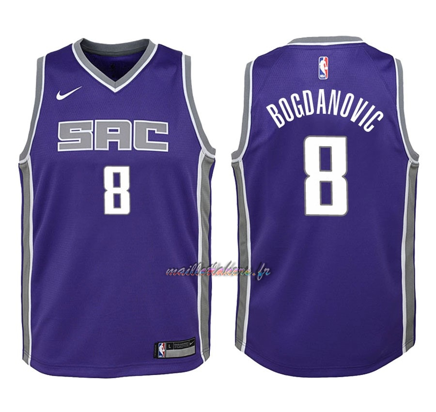 Maillot NBA Enfant Sacramento Kings NO.8 Bogdan Bogdanovic Pourpre Icon 2018 Pas Cher